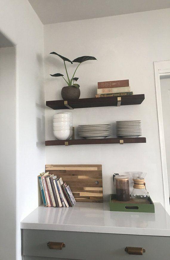 Brass Bracket For Floating Wall Shelf Modern Shelving Etsy In 2020 Floating Shelves Reclaimed Wood Floating Shelves Wood Floating Shelves