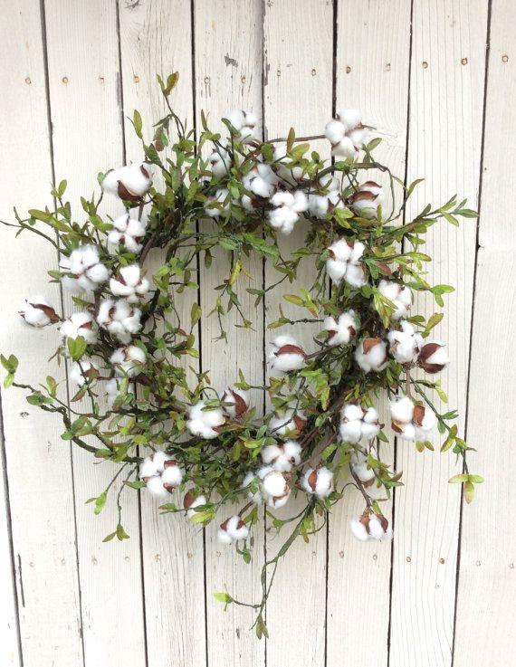 Cotton Wreath, Cotton Boll Wreath, Preserved Cotton Wreath, Spring Wreath, Year…