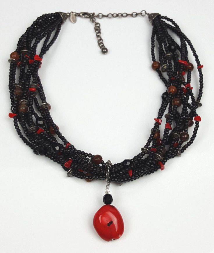 Chicos necklace red stone pendant 10 strands wooden beads stone chips glass #Chicos #Statement