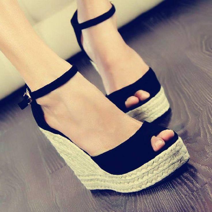 #shoes #high heels talons compensés noirs chaussures compensées black shoes