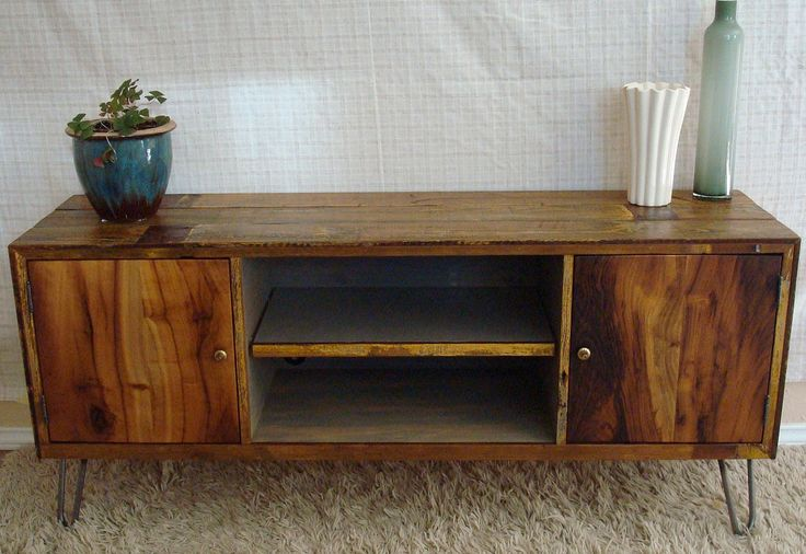 rustic reclaimed mid century inspired entertainment center tv stand made to order 1. Black Bedroom Furniture Sets. Home Design Ideas