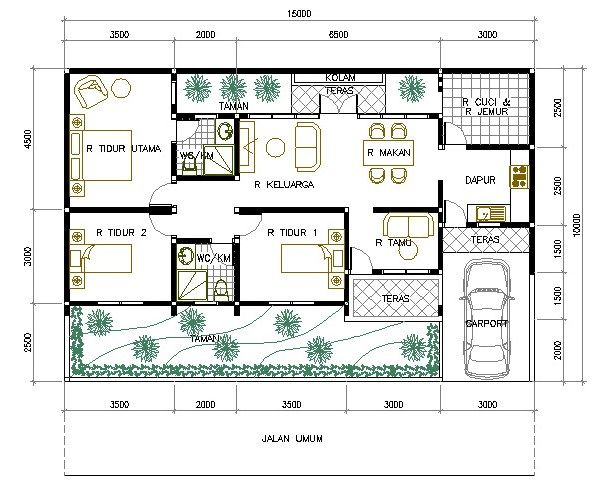 Denah Rumah Minimalis 1 Lantai 3 Kamar Tidur 1