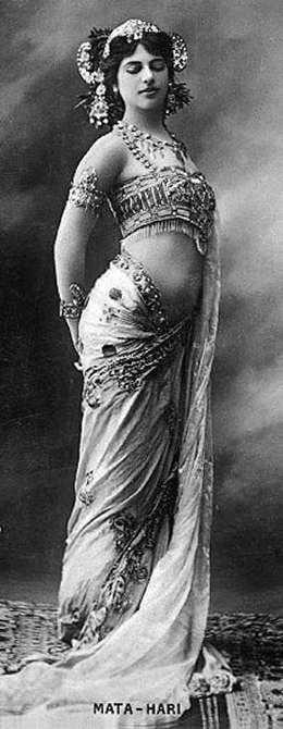Mata Hari was the stage name of Margaretha Geertruida 'Grietje' Zelle MacLeod (1876—1917), a Dutch exotic dancer, courtesan, and accused spy who, although possibly innocent, was executed by firing squad in France for espionage for Germany during World War I.
