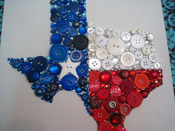 Swarovski Crystal and Button Art: Texas -- This is made to be framed, particularly in a shadow box.  But I'm thinking this might be a good idea for a blouse or vest -- sew the buttons on.