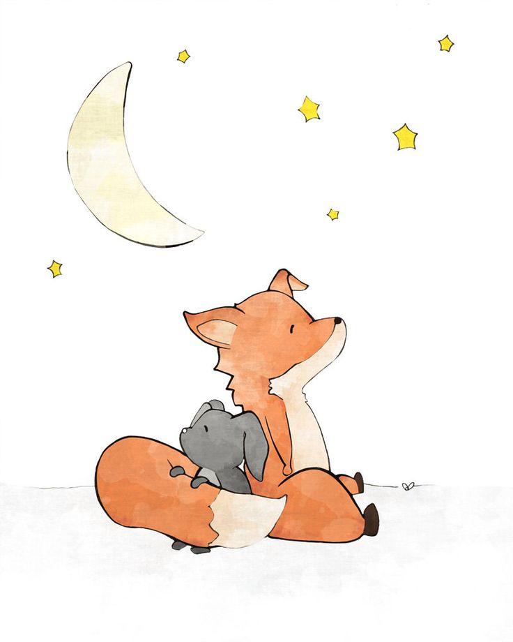 Fox Nursery Art Print - Rabbit Fox Moon and Stars, Woodland Nursery, Fox Art, Kids Room Decor, Forest Friends, Woodland Animals by LowerWoodlandStudio on Etsy https://www.etsy.com/listing/254606011/fox-nursery-art-print-rabbit-fox-moon