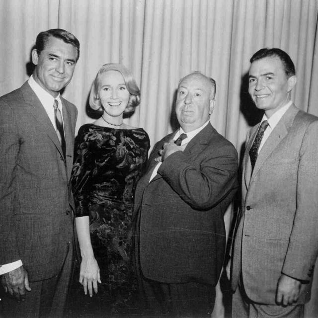 Cast of North by Northwest with director Alfred Hitchcock.