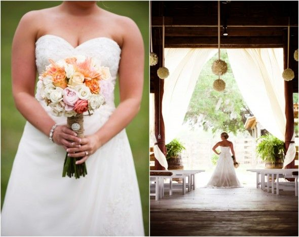 """Florida Barn Wedding: LOVE, LOVE, LOVE this wedding design!  Note: the pomander balls (flower balls) hanging from the barn rafters, galvanized bucket of flowers on the barn vertical support beams, the sweets jars, table set up (long tables in diagonal configuration), quote """"LIFE is not measured..."""", & cake bar.  WOW!!!"""