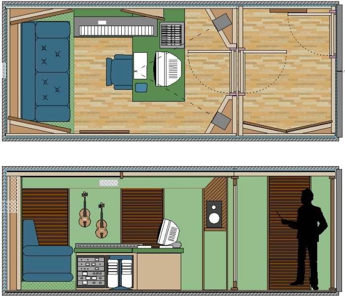 the many faces of a shipping container recording studio in a box - Home Recording Studio Design Plans