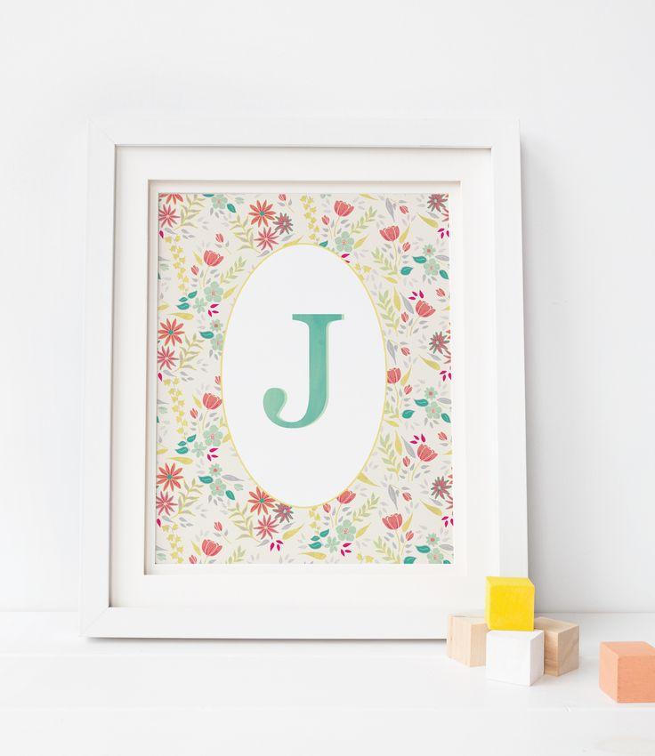 Coral and mint nursery monogram print