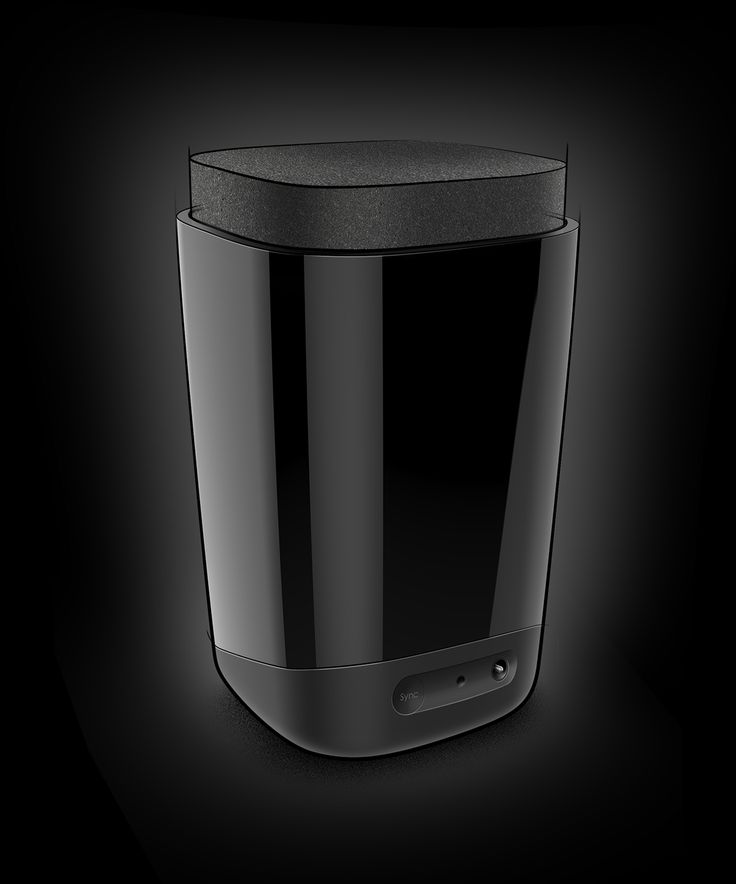 Speaker by Etienne Bougeot | A perfect example of how to position a black product on a black background - special credit for the clear description of different finishes and materials on the product, caisdesign.com
