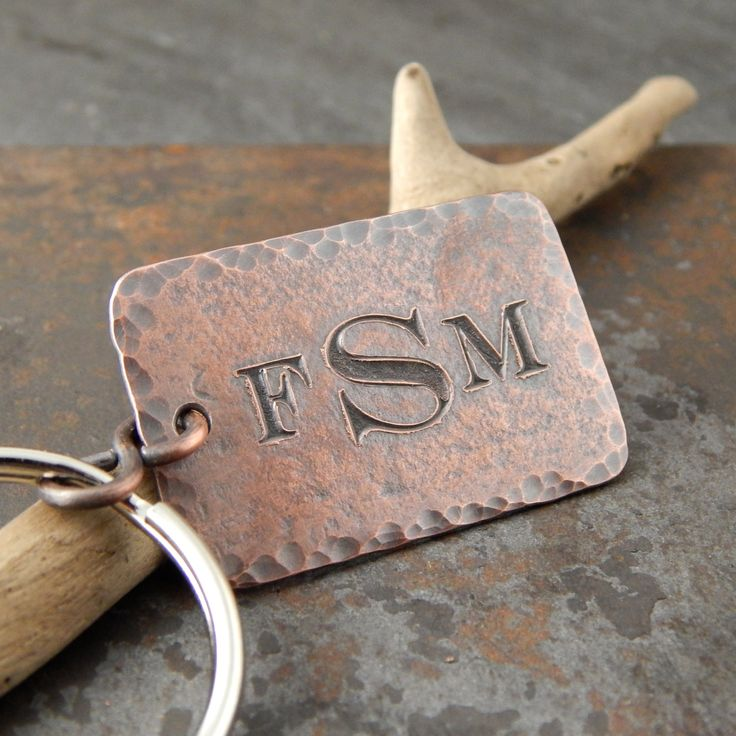 Monogrammed keychain, Father's Day gift, personalized gifts for him, engraved copper key fob with monogram, guy gifts, 1 inch x 1.5 inches. by erinbowe on Etsy