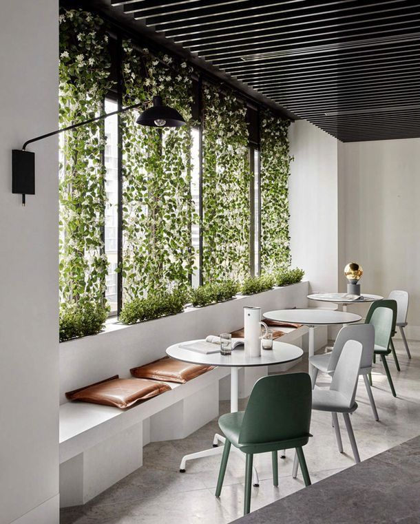 Green Nature Kaplan Kaplan S Attention Restoration Theory Suggests That Nature Has A Restaurant Interior Restaurant Interior Design Office Interior Design