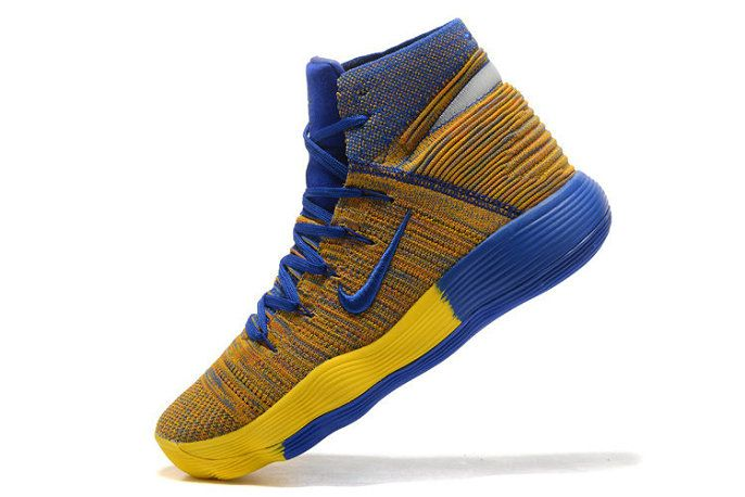 7c10f0cecee1 Authentic Nike Hyperdunk 2017 Elite Flyknit Warriors Yellow Blue Mens  Basketball Shoes 2018 On Line