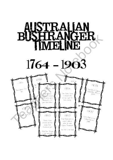 Australian Bushrangers Timeline Cards from amiow from amiow on TeachersNotebook.com (26 pages)  - Australian Bushrangers Timeline Cards