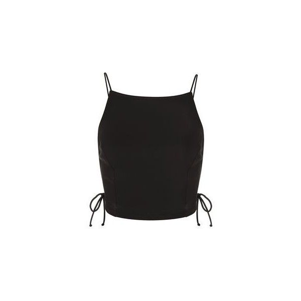 Odette Crop Top by Motel (57 CAD) ❤ liked on Polyvore featuring tops, black, crop top, bodycon crop top, bodycon tops, cut-out crop tops and topshop tops