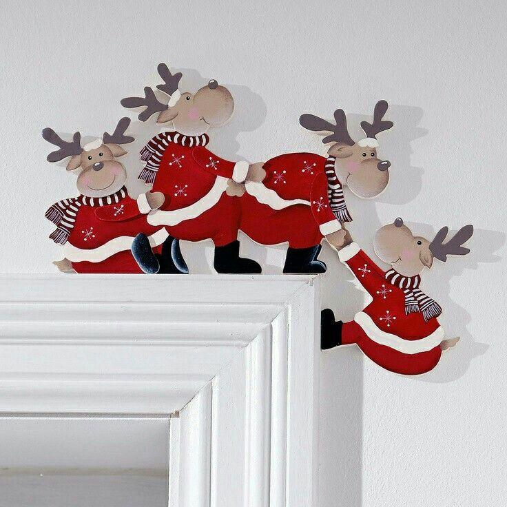 Decoraci n de navidad renos navide os esquineros - Adornos navidenos artesanales ...