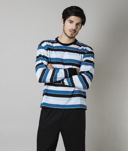 Pijama jersey de hombre rayado