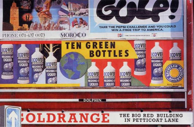 "Read more: https://www.luerzersarchive.com/en/magazine/print-detail/ecover-11922.html Ecover These posters for ""green"" washing detergent Ecover were created on the spot by various British artists, recycling old advertising posters. Tags: TBWA, London,Ian Peck,David Shane,Paul Burgess,Ecover,Lynn Kendrick"