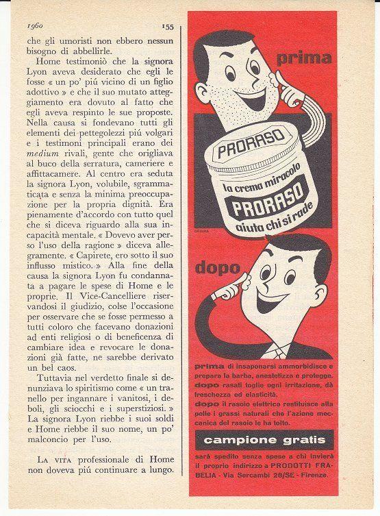 PRORASO CREMA DOPO BARBA MARZO 1960 PUBBLICITA´ ADV ADVERTISING