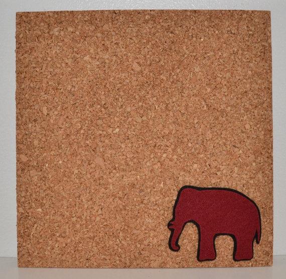 My Elephant Message Board - Roll Tide - University of Alabama Love - Cork Tile Bulletin Board. $8.95, via Etsy.