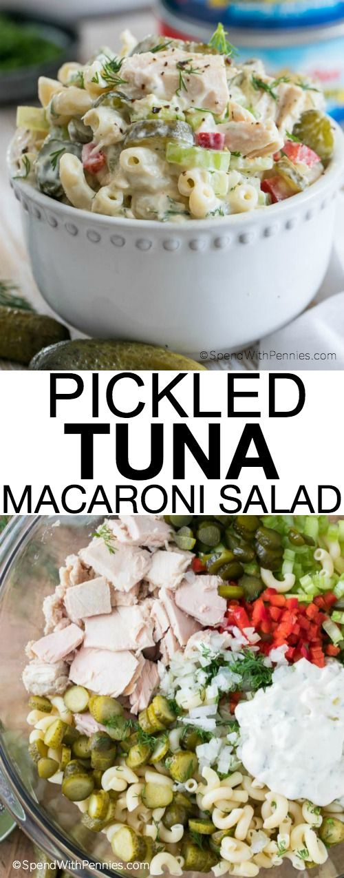 Pickled Tuna Macaroni Salad! This lightened up pasta salad is a versatile and healthy dish, perfect for lunch or a quick dinner and a tasty way to get the recommended 2 to 3 servings of seafood a week! #eatmoreseafood #ad
