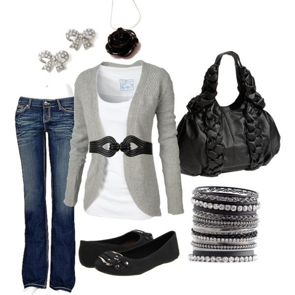 Black Rose: Black Rose, Sweaters, Casual Friday, Casual Outfit, Black White, Bows Earrings, Grey, Cute Outfit, Belts