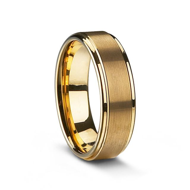 Gold Plated Tungsten Carbide Men's Ring