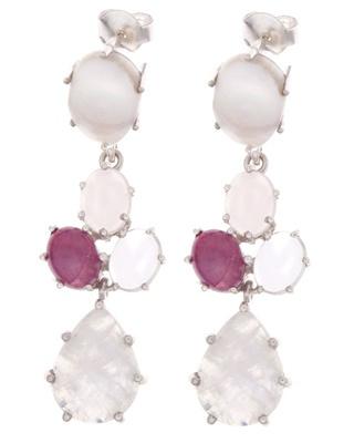 Brincos em Prata com Pérola, Quartzo Rosa, Rubi, Cristal de Quartzo e Pedra da Lua