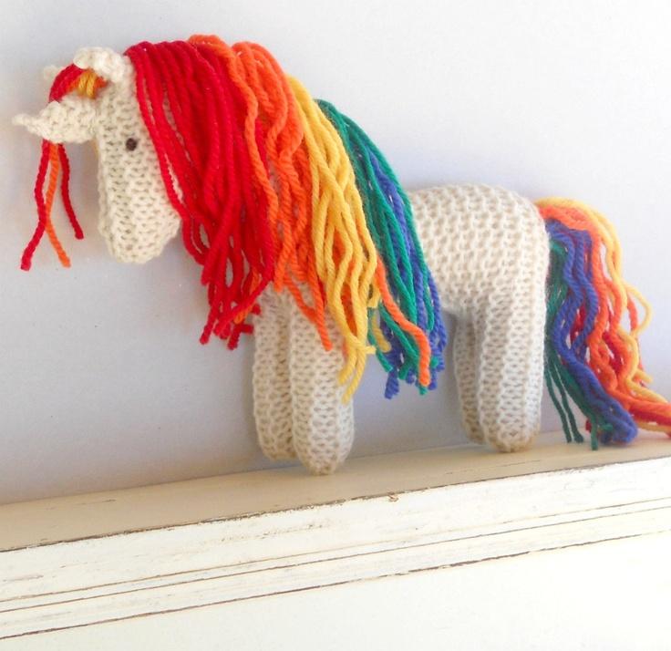 Rainbow Unicorn Earth Pony Waldorf Toy Stuffed Animal