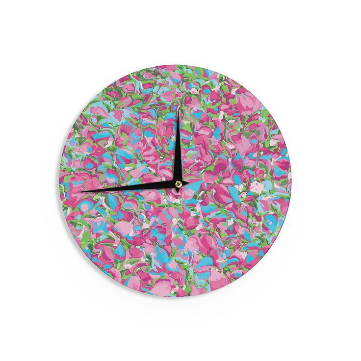 """Empire Ruhl """"Abstract Spring Petals"""" Pink Teal Wall Clock"""
