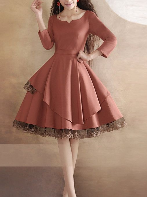 Lace Dress Pink Long Sleeves Vintage Black Little Tea Beautiful Prom Fashion Original Design