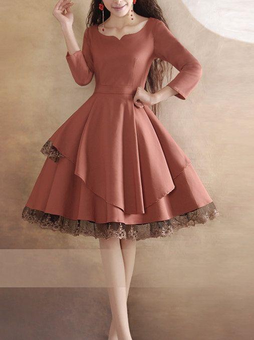 Lace Dress Pink Dress Long Sleeves Vintage Dress Black Dress Little Tea Dress Beautiful Prom Dress Fashion Original Design