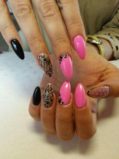 #acrylic #long #almond #nails #pink #black #strass #nailart
