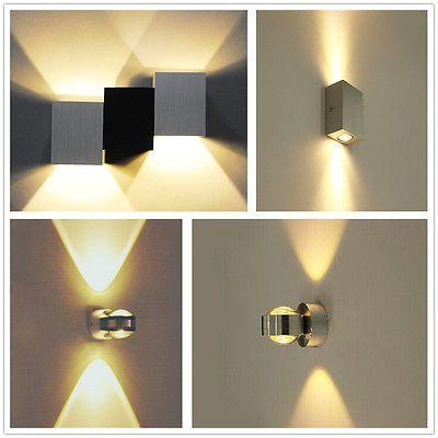 details zu 2w led wandleuchte leuchte flurlampe lampe deckenlampe warmwei wandlampe alu. Black Bedroom Furniture Sets. Home Design Ideas