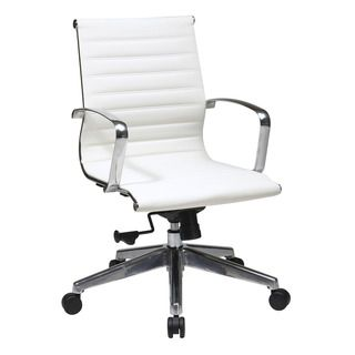 Office Star Products Mid Back White Eco Leather Chair | Overstock.com Shopping - The Best Prices on Office Star Products Ergonomic Chairs