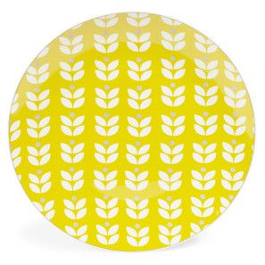 Plato llano de porcelana amarillo Diám. 27 cm WALLPAPER