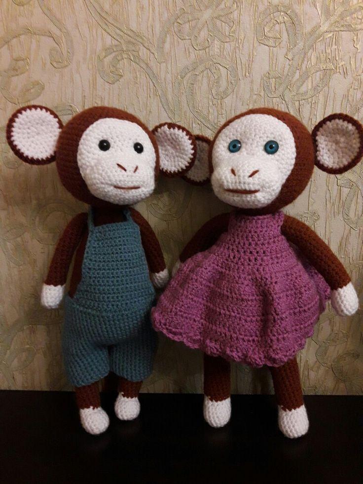 Вязаные обезьянки Гоша и Маша