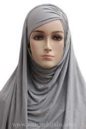 Jersey Hijab Asymmetrical Pleat-Grey