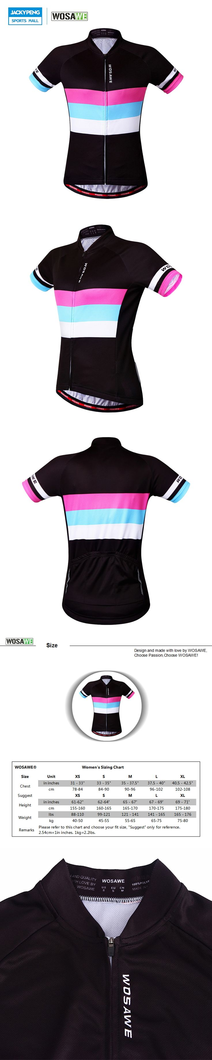 WOSAWE Women Breathable Quk Dry Cycling Clothing Bike Sport Bicycle Road Cycling Jersey Short Sleeve Cycling Wear