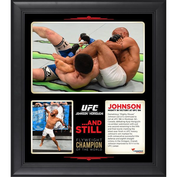Demetrious Johnson Ultimate Fighting Championship Fanatics Authentic Framed 15'' x 17'' UFC 186 Victory Over Kyoji Horiguchi Collage - $59.99