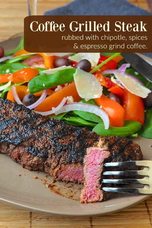 Coffee Steak - rubbed with chipotle & Espresso ground coffee. Along with a mix of spices, the finely ground coffee adds an earthy delicious flavour to the beef.