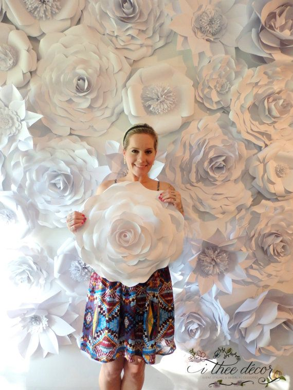 Paper Flower Wall Custom Listing All White Paper by Itheedecor
