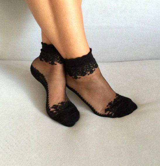 Black Wedding Socks Women Socks Transparent Socks Nylon Ankle Socks Hosiery (6.99 USD) by Muggyshop