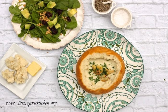 Roasted Cauliflower Soup and Spinach Salad ~ Another Casual Friday Menu | The Organic Kitchen Blog and Tutorials