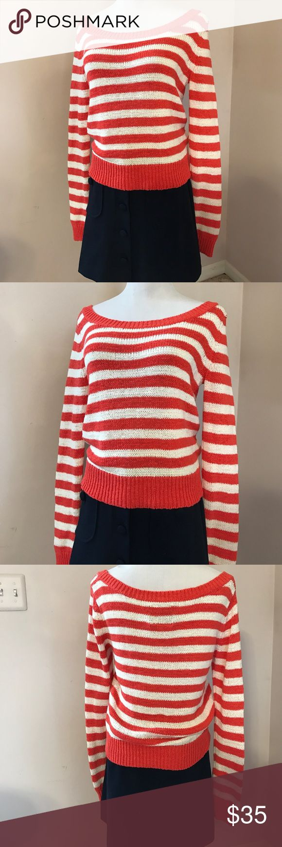 American Eagle Striped Scoop Neck Sweater NEW! What a fun sweater for spring and summer! Pair it with a cute navy Knit skirt like this (for sale in my closet) or with jeans. Never worn because it was too large for my daughter, but tags are lost. No trades or lowball offers please. American Eagle Outfitters Sweaters Crew & Scoop Necks