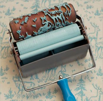 I love these paint rollers to create a wallpaper effect using paint. £15 for a roller, £12 for the paint applicator –  The Painted House on Etsy