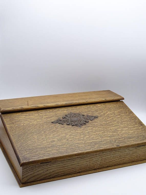 Vintage Wooden Writing Box Stationary Storage Box