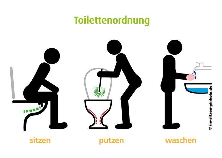 Toilettenordnung Im Sitzen pinkeln, mit Klobürste putzen und Hände waschen