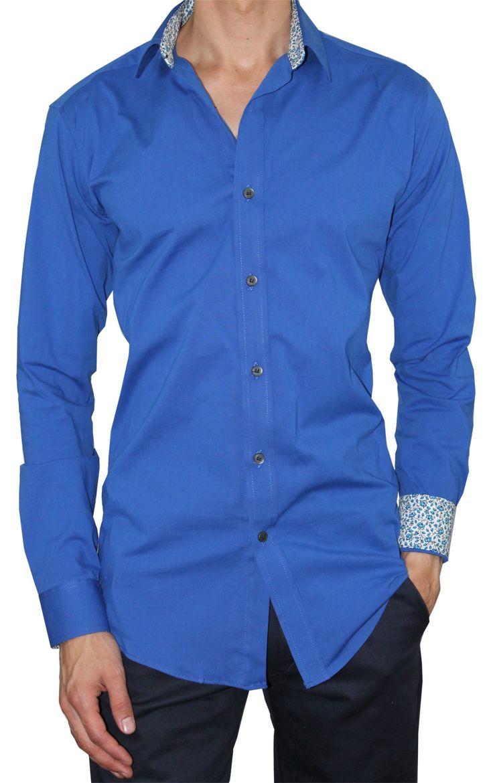 Camisa Casual Ultra Slim Elástica Bernard Azul Royal