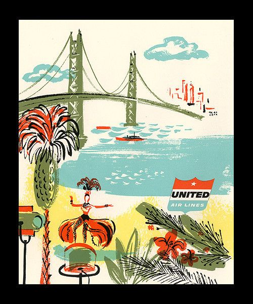 1957 in-flight menu, back cover  in-flight menu from United Airlines- Mainland to Hawaii flights